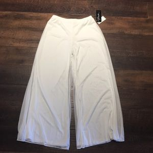 NWT White Prelude Double Layer Mesh Wide Leg Pants